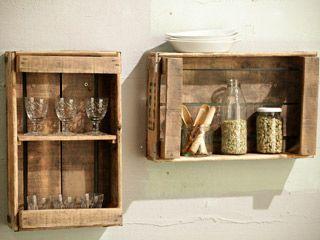 Cajones hechos estanterías para decoración del hogar