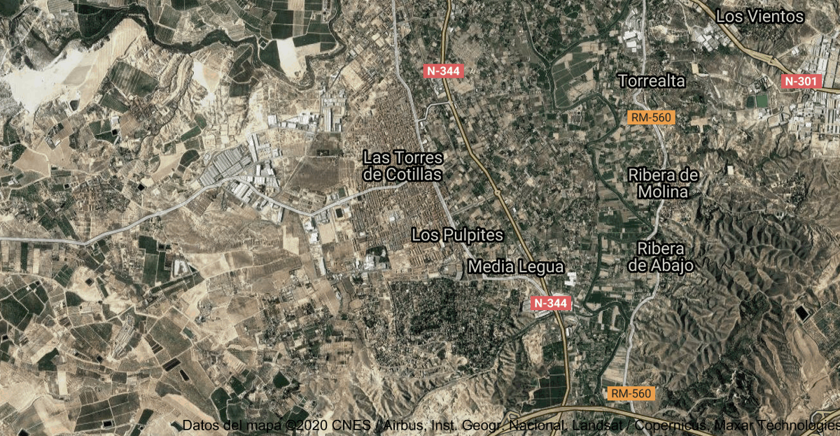 Foto satelital de Las Torres de Cotillas