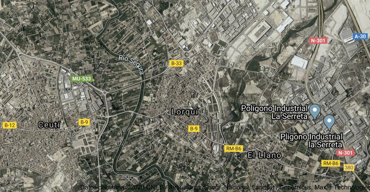 Foto satelital de Lorquí
